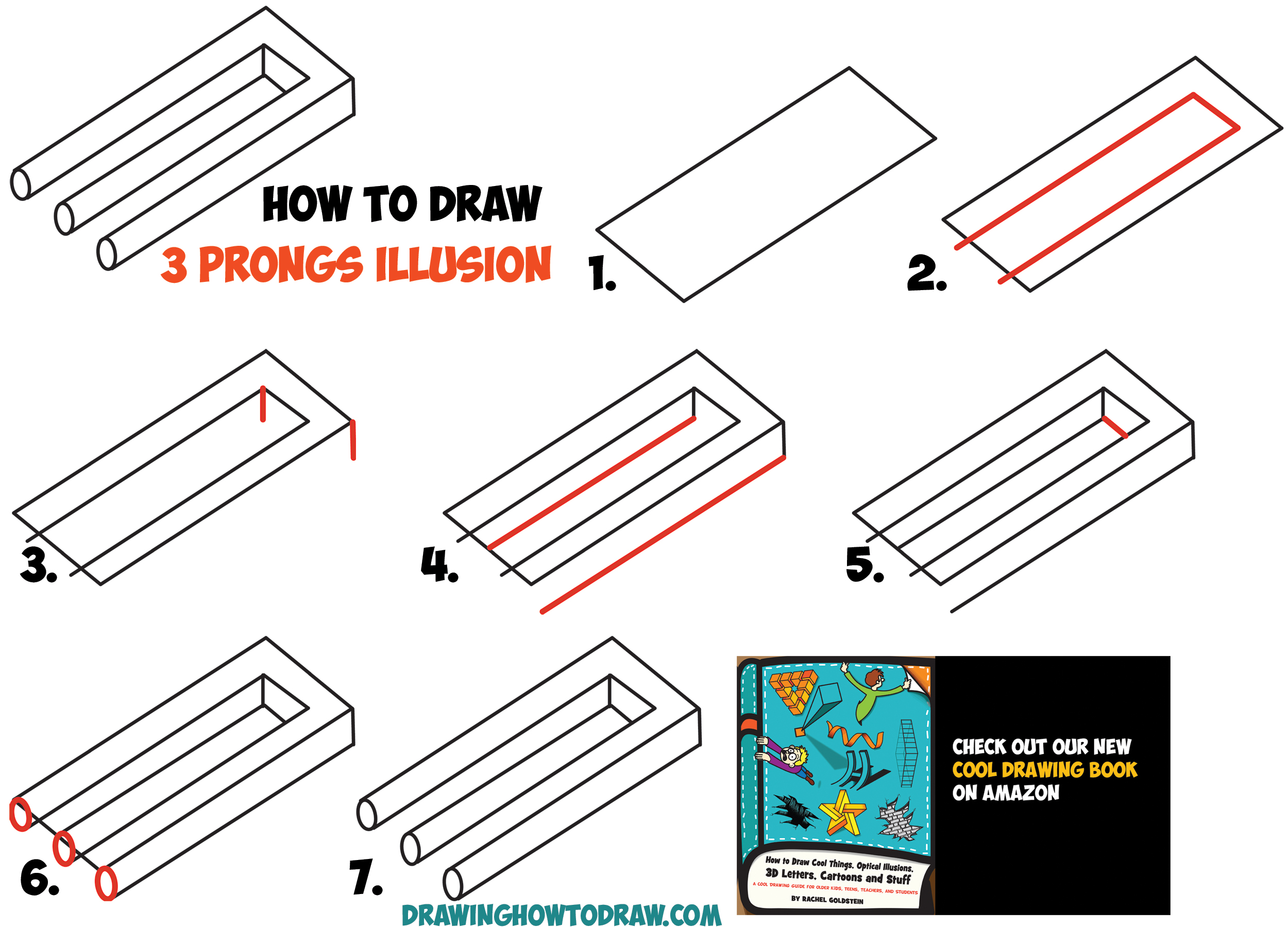 2500x1799 How To Draw 3 Prongs Optical Illusion Easy Step By Step Drawing