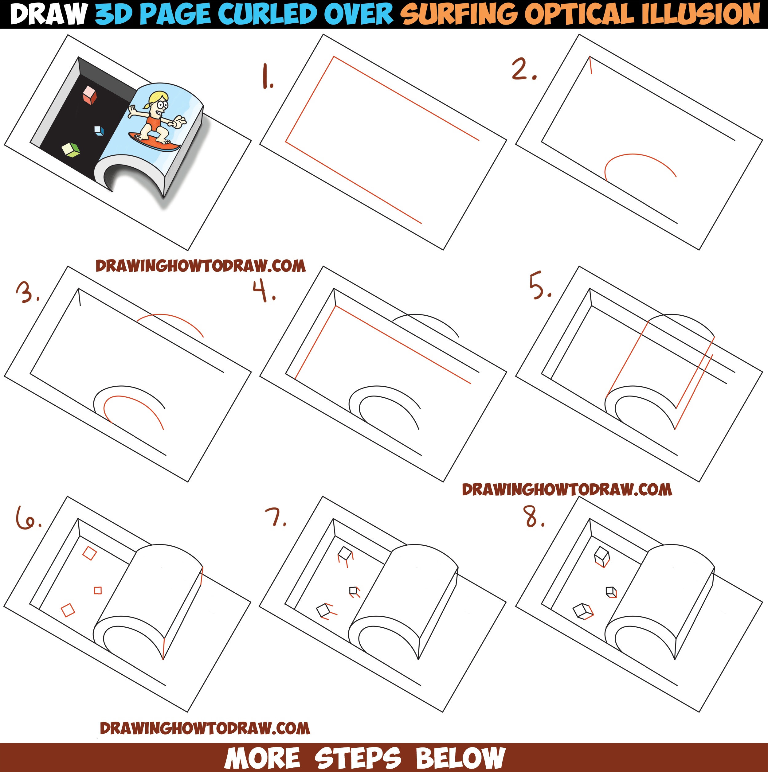 2500x2514 How To Draw Paper Being Curled Up Like A Wave With Cartoon Girl