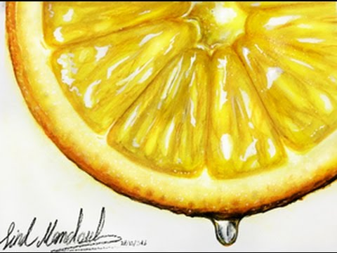 480x360 Realistic Lemon Slice Watercolor Paint L Speed Drawing