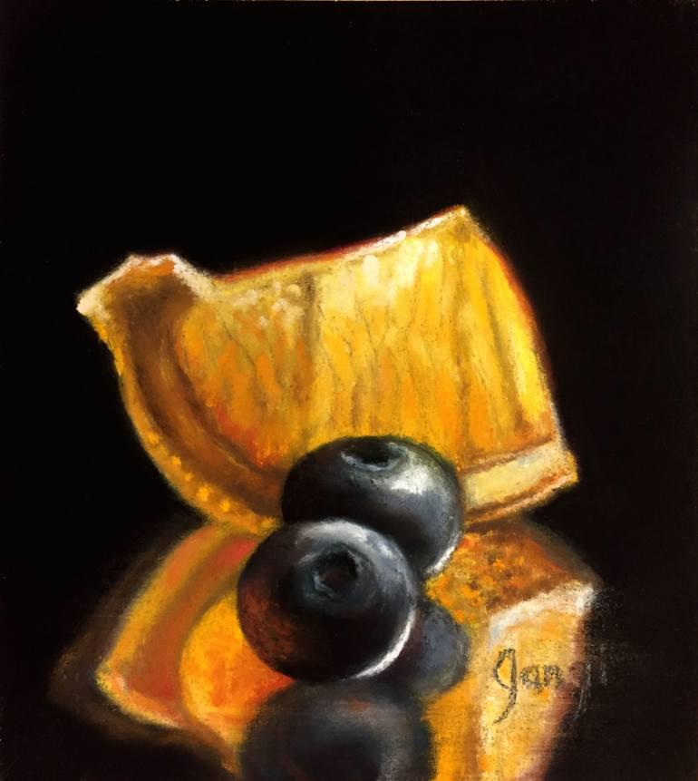770x861 Saatchi Art Two Blueberries Amp Orange Slice Drawing By Nicora Gangi
