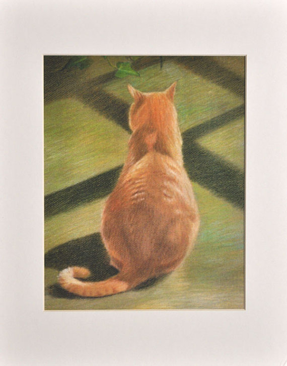 570x728 Orange Tabby Cat Art Orange Tabby Cat Print Tabby Cat
