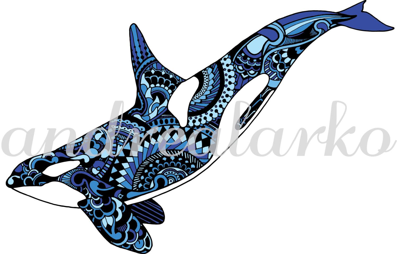 1500x960 Limited Edition Orca Zentangle Art Print