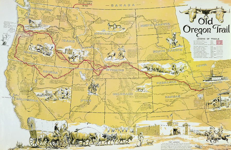 900x585 Map Of The Old Oregon Trail Drawing By American School