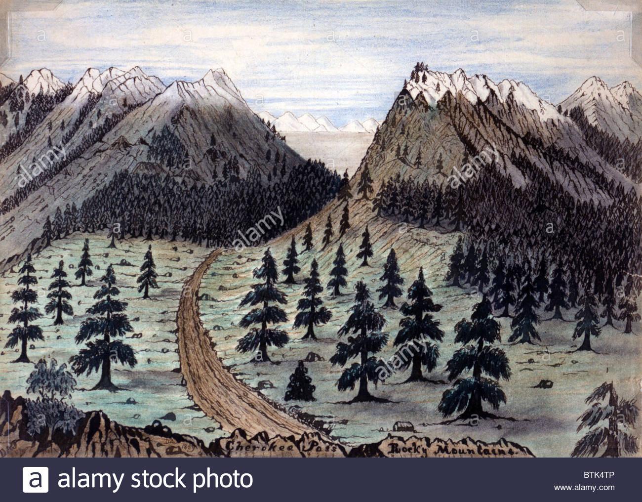1300x1016 The Oregon Trail. Cherokee Pass, Rocky Mountains. Daniel Jenks