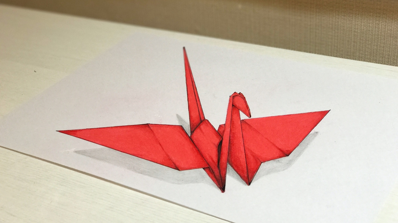 1280x720 3d Drawing Origami Crane Tutorial