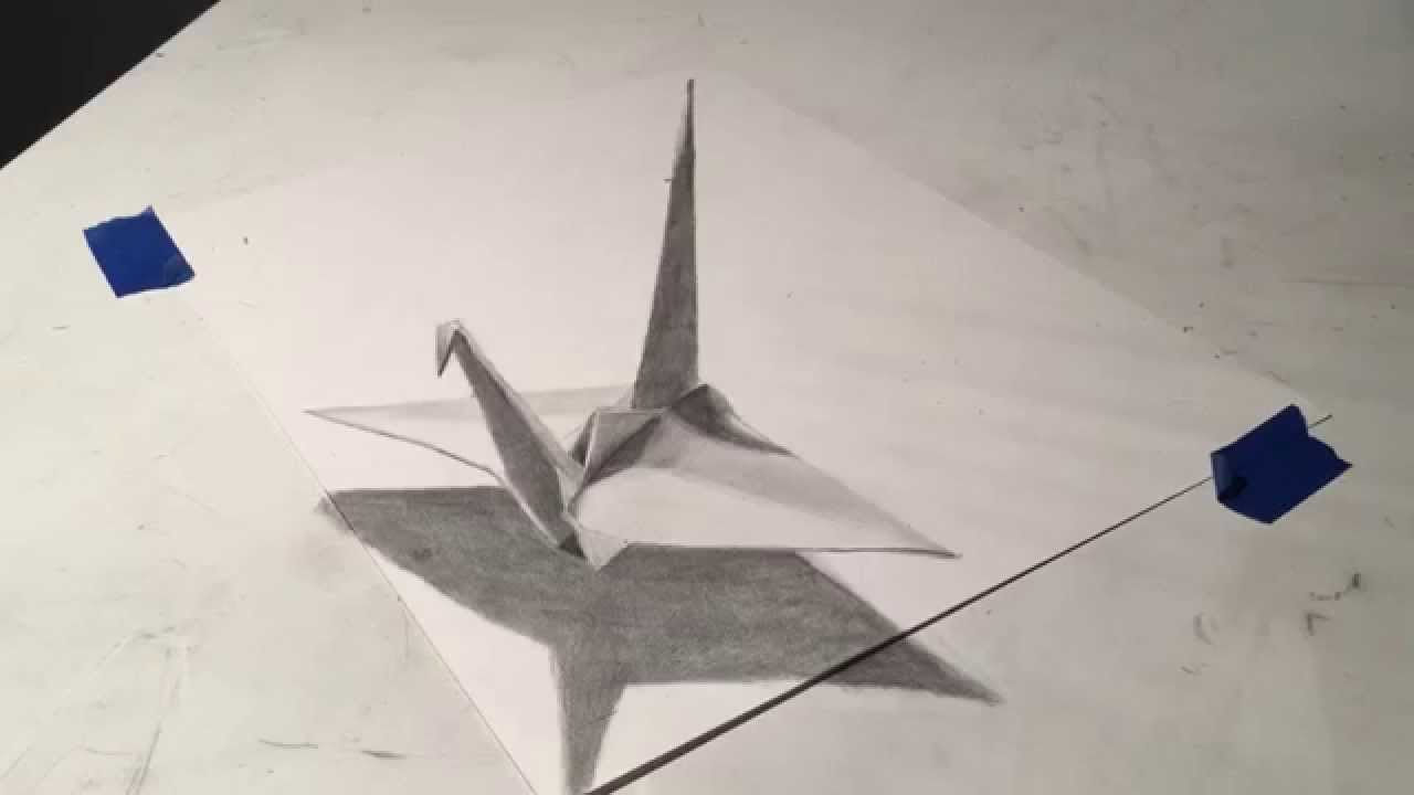 1280x720 Anamorphic Origami Crane Drawing Timelapse