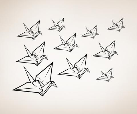 480x401 Origami Drawing Origami Crane Drawing Ideas
