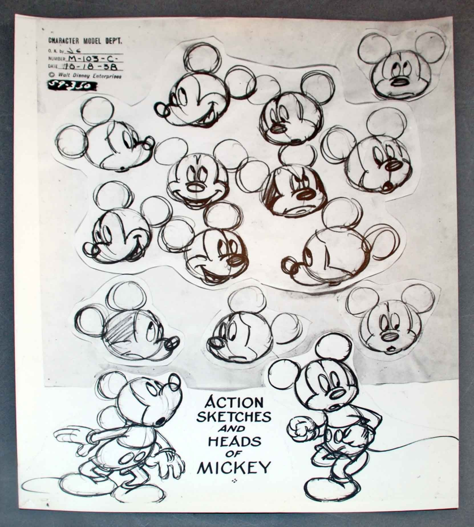 1662x1849 Original Walt Disney Model Sheet Mickey Mouse Action Sketches