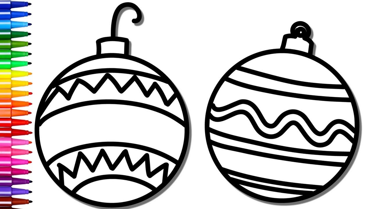 1280x720 Christmas Ornament Coloring Pages Drawing Pages And Learn Colors