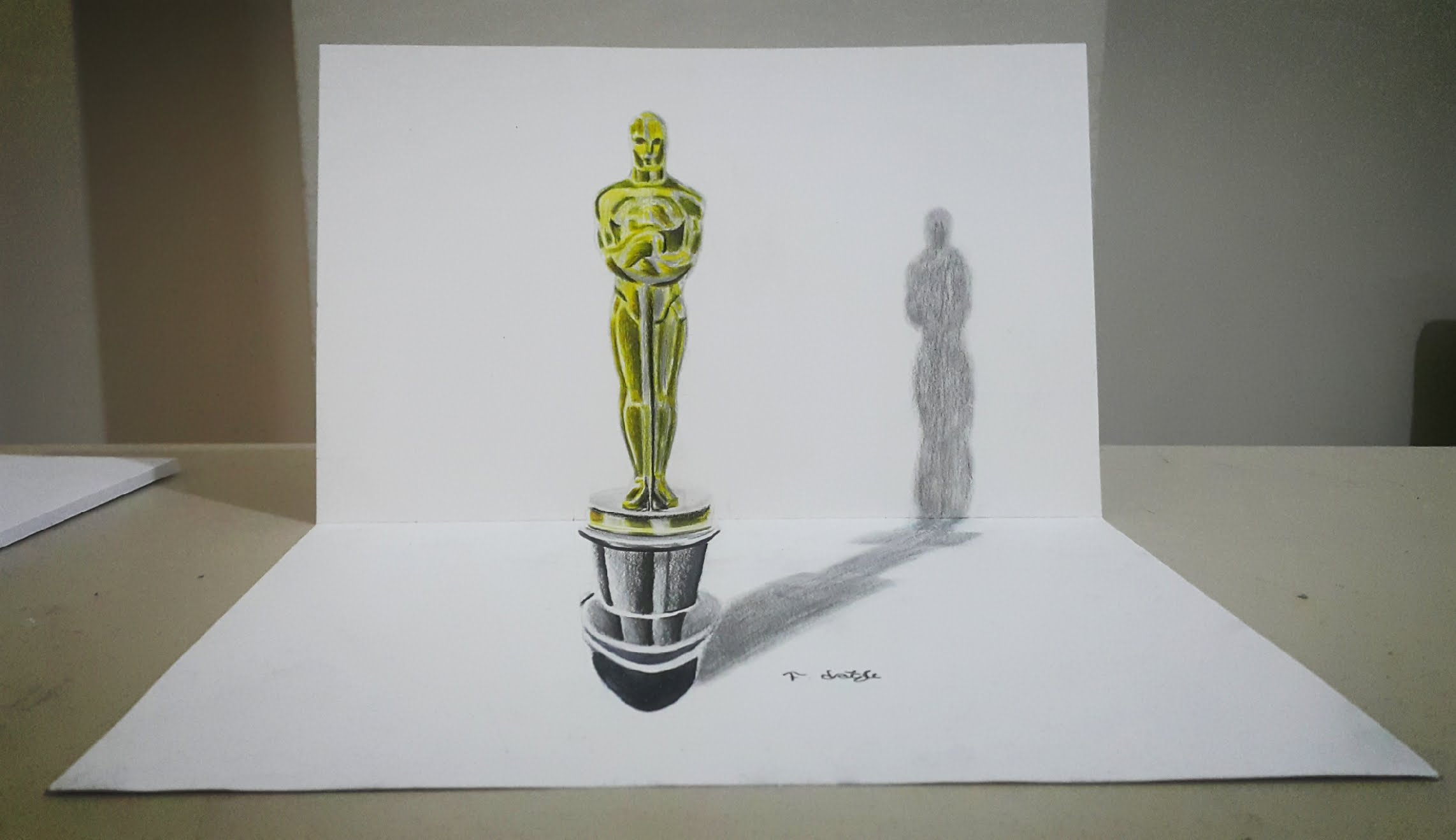 2285x1319 Drawing 3d Oscar Award Statue [Time Lapse] Oscar Heykeli