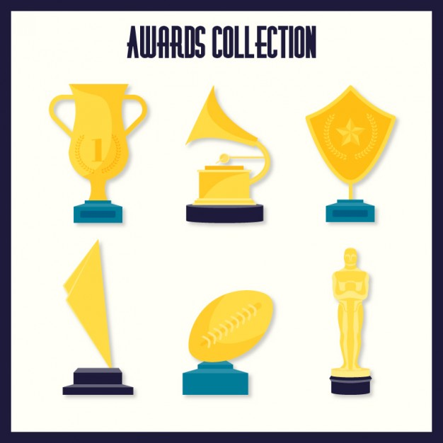 626x626 Hand Drawn Golden Awards With An Oscar Prize Pack Vector Premium