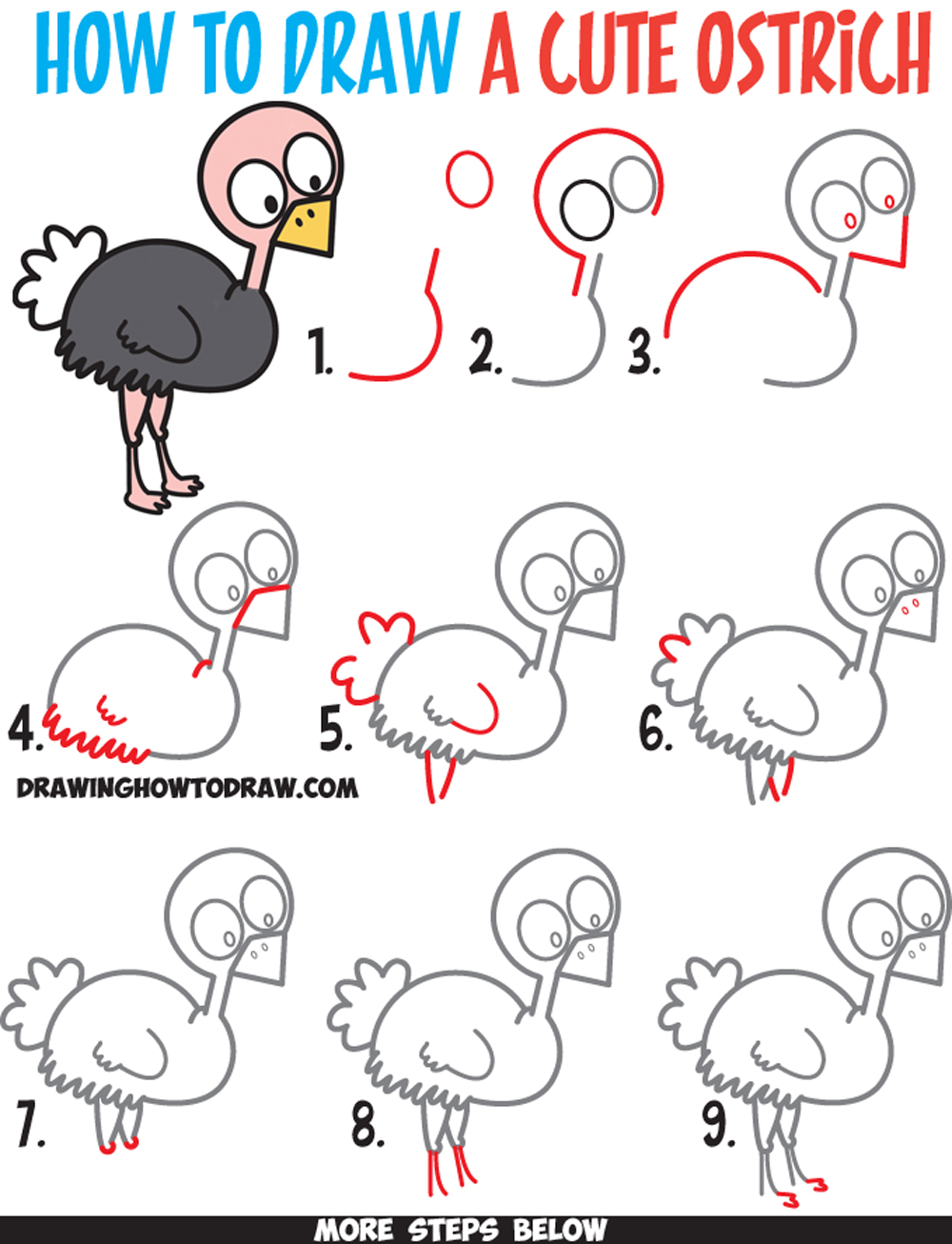 1000x1306 How To Draw A Cute Cartoon Ostrich Easy Step By Step Drawing