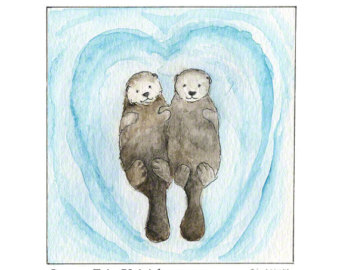 340x270 Otters Holding Hands Etsy