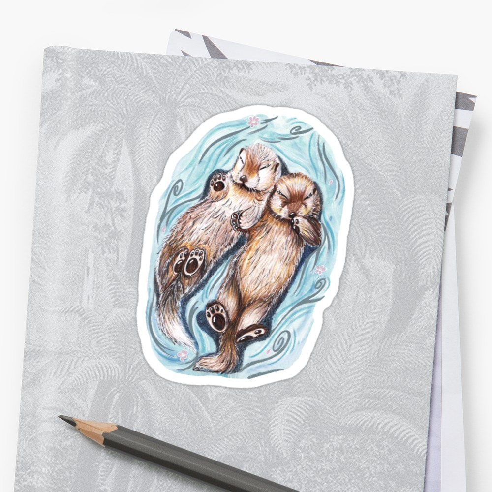 1000x1000 Sleepy Otters Holding Hands Stickers By Chloefae Redbubble