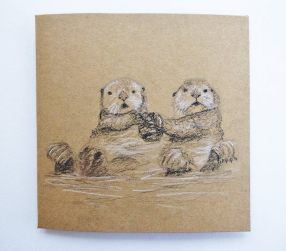570x499 Sweet Otters Holding Hands Greetings Card Otter Couple Hand