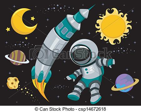 450x357 Illustration Of Outer Space Design Elements On Black Vector