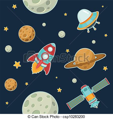 449x470 Outer Space. Space Seamless Pattern Vector Clipart