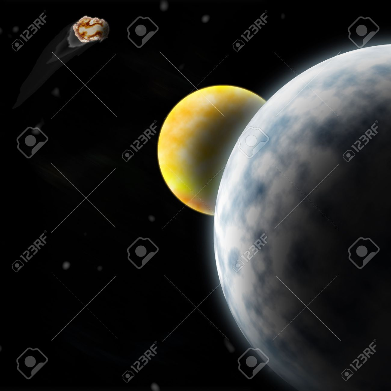 1300x1300 Drawing Of Outer Space Two Planets And An Asteroid Stock Photo