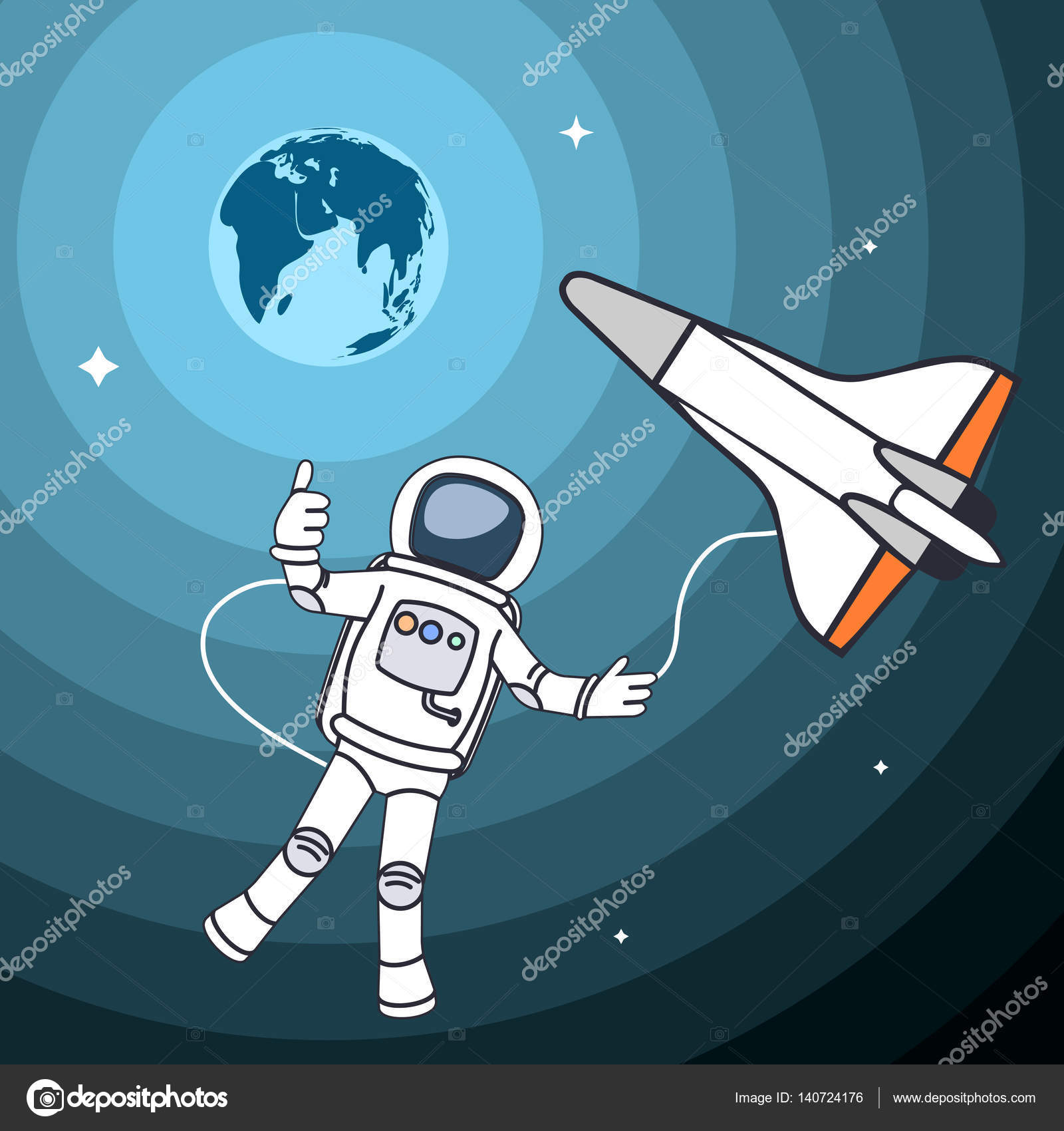 1600x1700 Drawing The Astronaut In An Outer Space A Vector Illustration