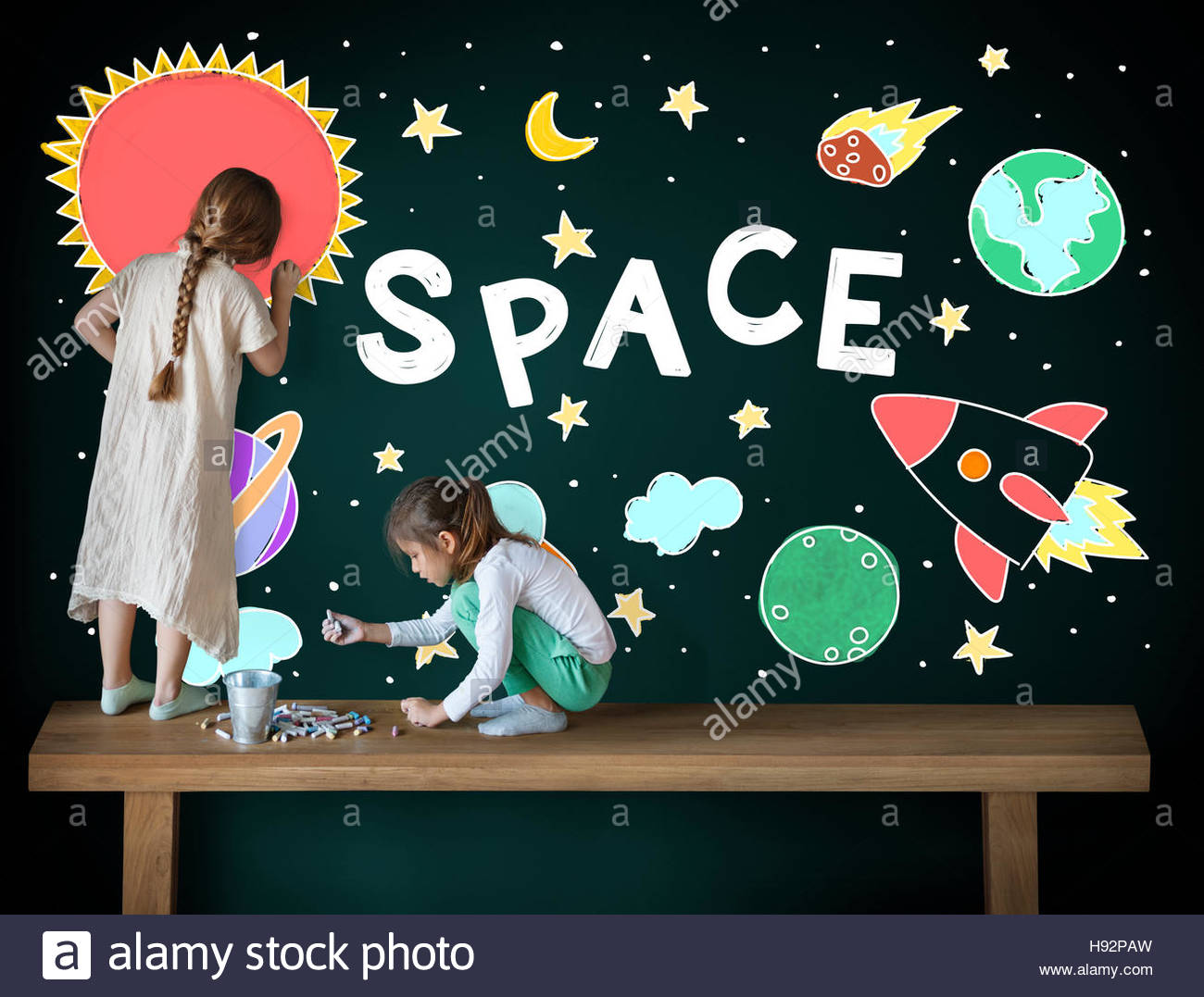 1300x1077 Outer Space Icons Drawing Graphics Concept Stock Photo 126065937