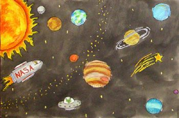 350x232 Outer Space Watercolor Wax Resist. Students Create An Outerspace
