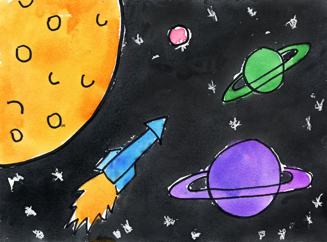 1125x833 Space Drawing For Kids Outer Space Art Project For Kids Ziggity