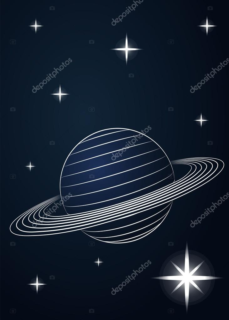 731x1023 Saturn Planet Drawing In Outer Space Vector Stock Vector Adikk