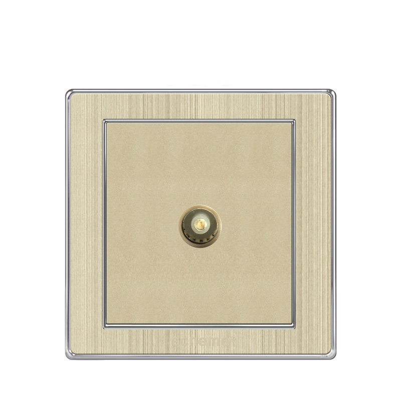 800x800 86 Type Tv Socket White Gold(Wire Drawing) Panel Electrical Wall