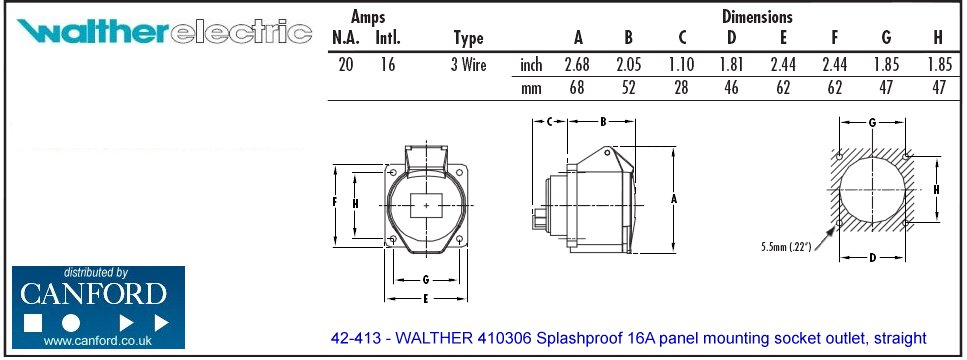 967x360 Walther 410306 Splashproof 16a Panel Mounting Socket Outlet, Straight