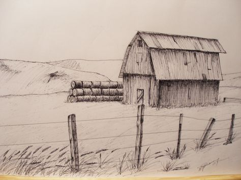 474x355 Print Pen And Ink Drawing Of Oregon Hay Barn, 812 Ink Drawings