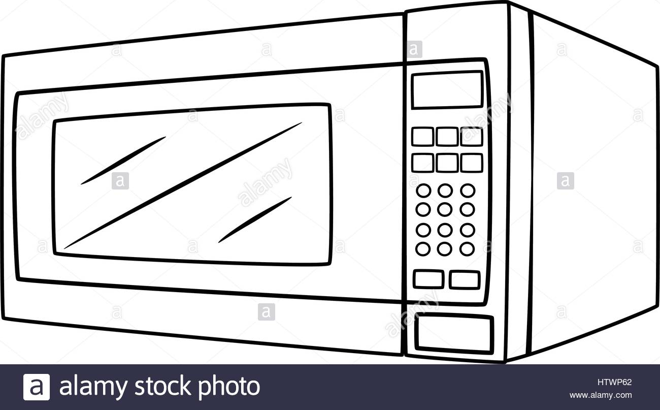 1300x807 Ilration Of Isolated Microwave Oven Cartoon Drawing Vector