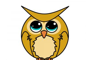 300x210 Cartoon Owl Drawing