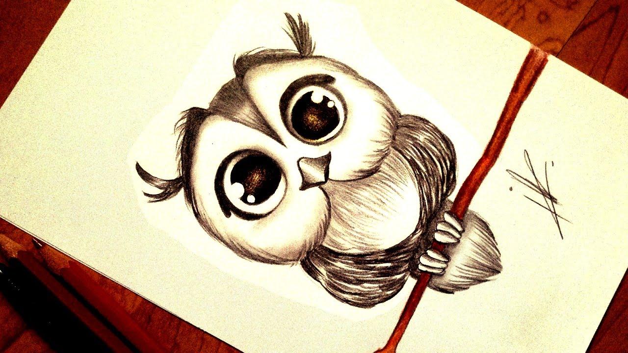 1280x720 Drawing A Kawaii Baby Owl