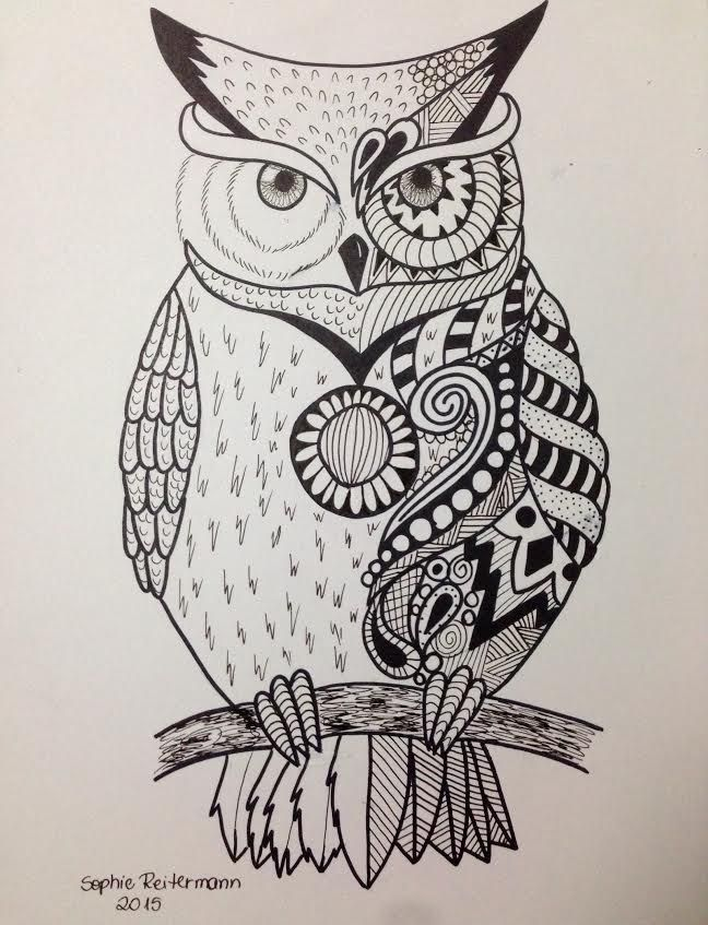 648x847 Owl By On @ Drawings
