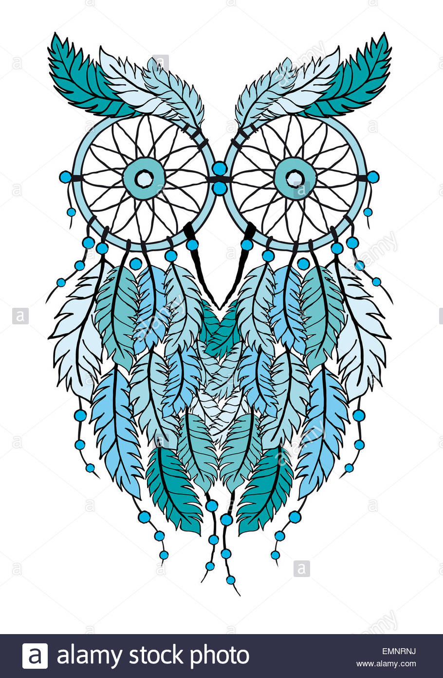 910x1390 Blue Tribal Dream Catcher Owl, Hand Drawn Illustration Stock Photo