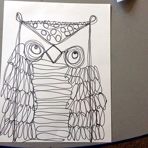 500x500 Stephanie Shepherd Continuous Line Art Drawing Owls