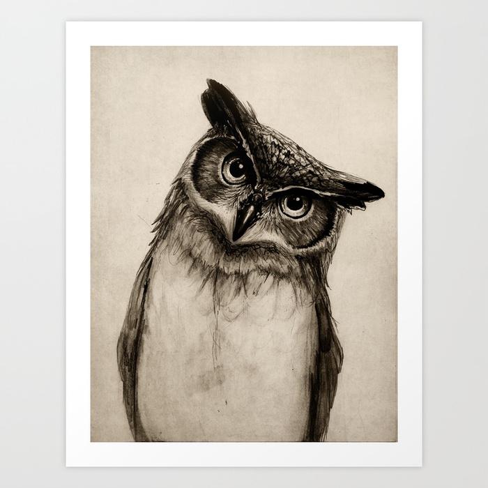 700x700 Owl Sketch Art Print By Isaiahstephens Society6