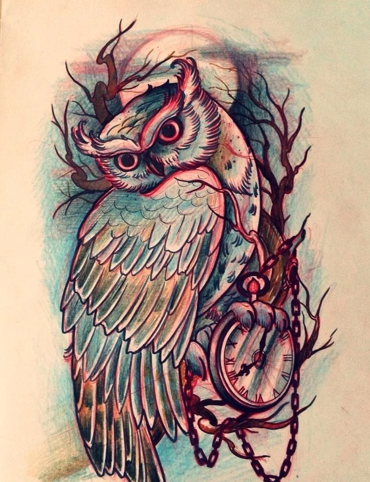 Owl Tattoo Drawing at GetDrawings.com | Free for personal use Owl ...