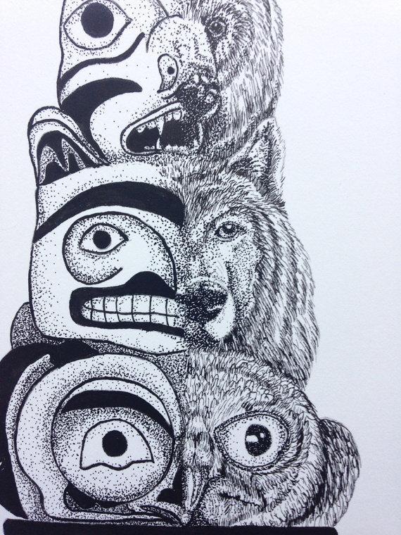 570x760 Totem Pole Fantasy Drawing Original Pen Amp Ink. 8.5x11 Original