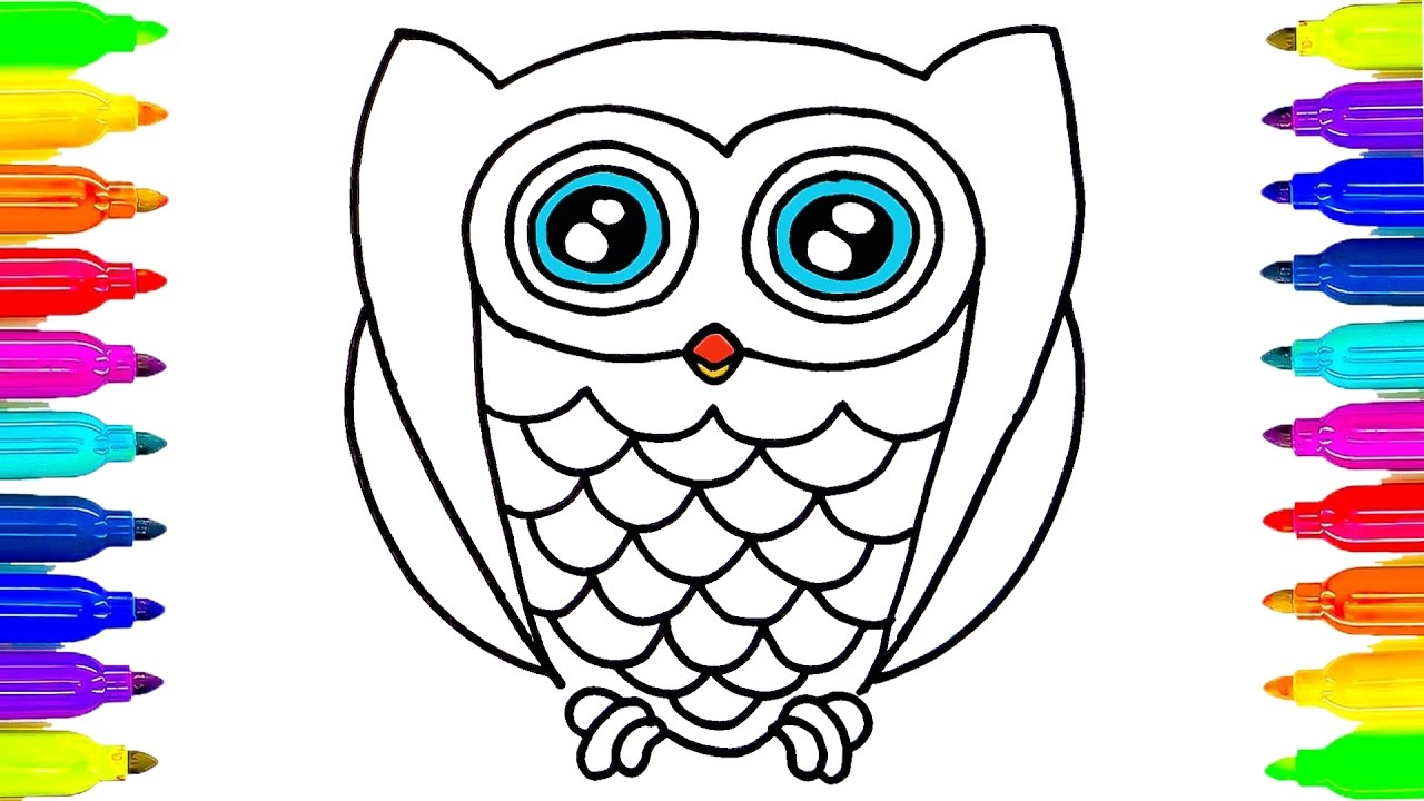 1280x720 How To Draw Owl Coloring Pages Drawing Ideas For Kids