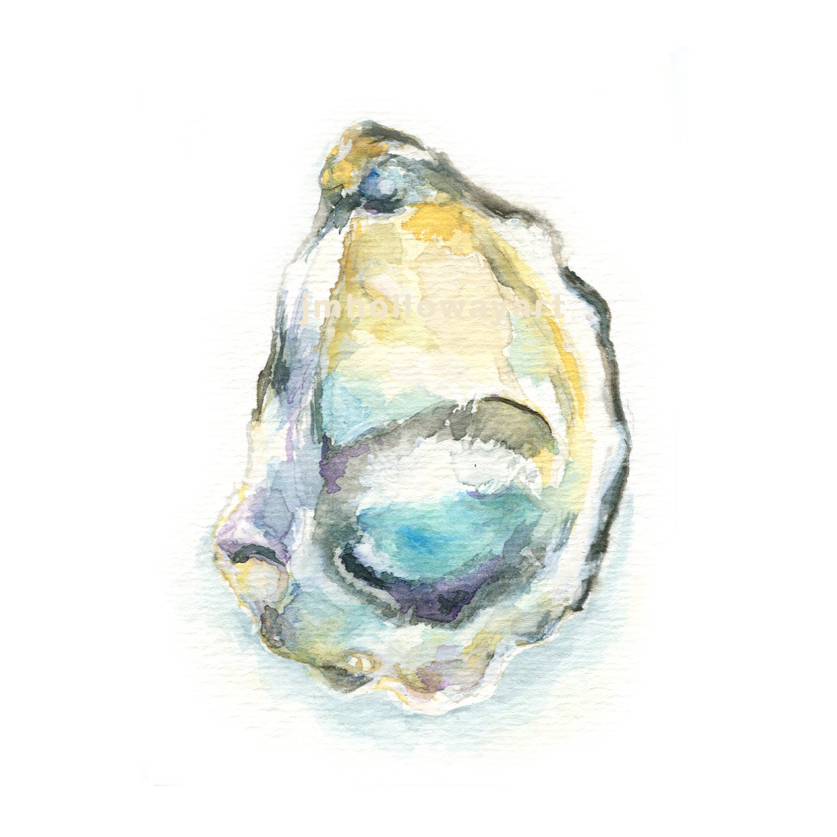 1200x1200 Art, Oyster, Oyster Shell Print, Watercolor, Oyster Print, Shell