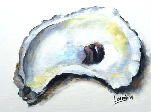504x377 Oyster Shell Art Oyster Canvas Print Oysters On The Half Shell By