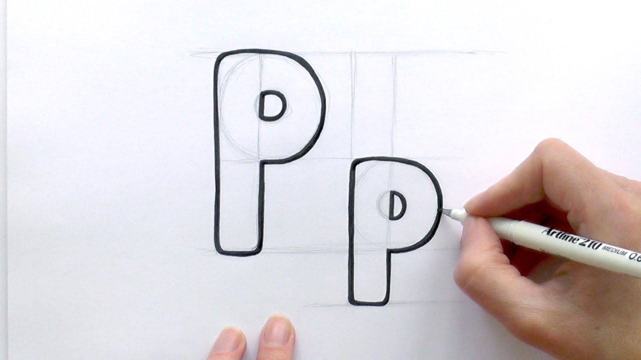 1280x720 how to draw a cartoon letter p and p