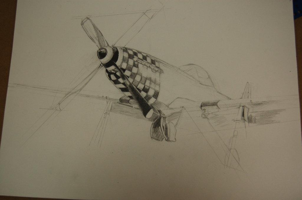 1024x681 P 51 Mustang Sketch Wip By Helenpacholewski