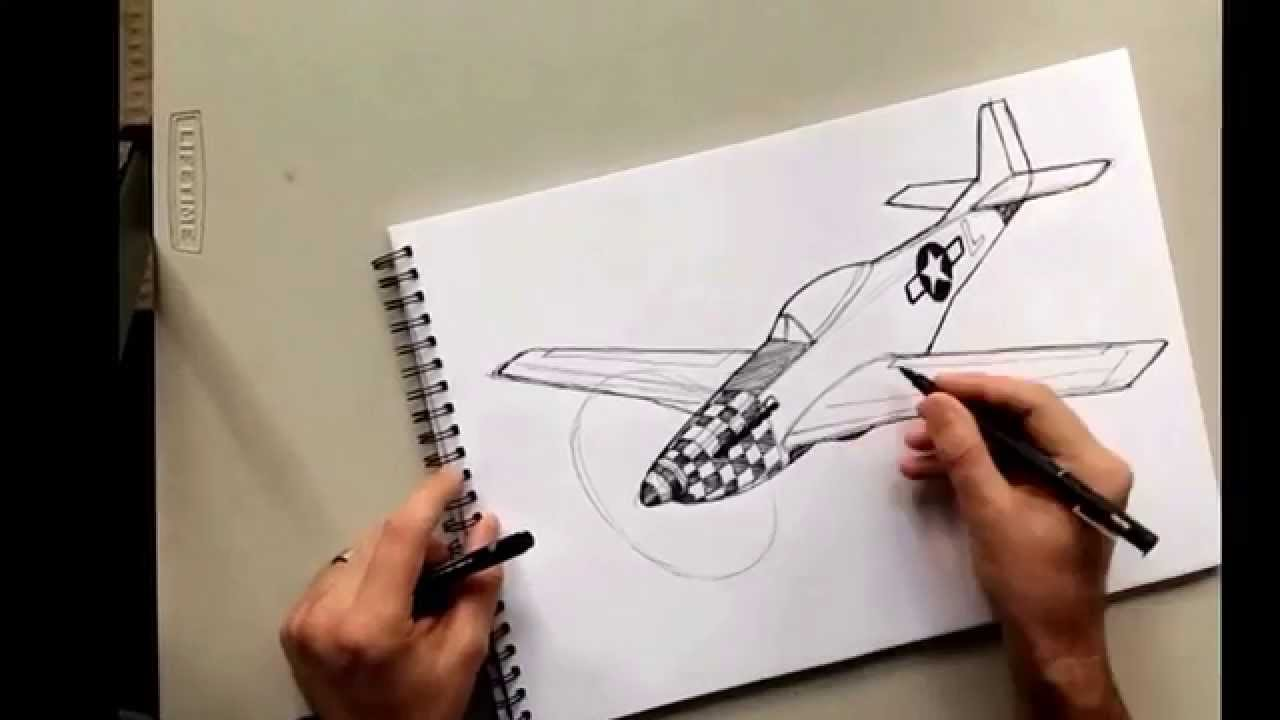 1280x720 P51 Mustang Hand Sketch