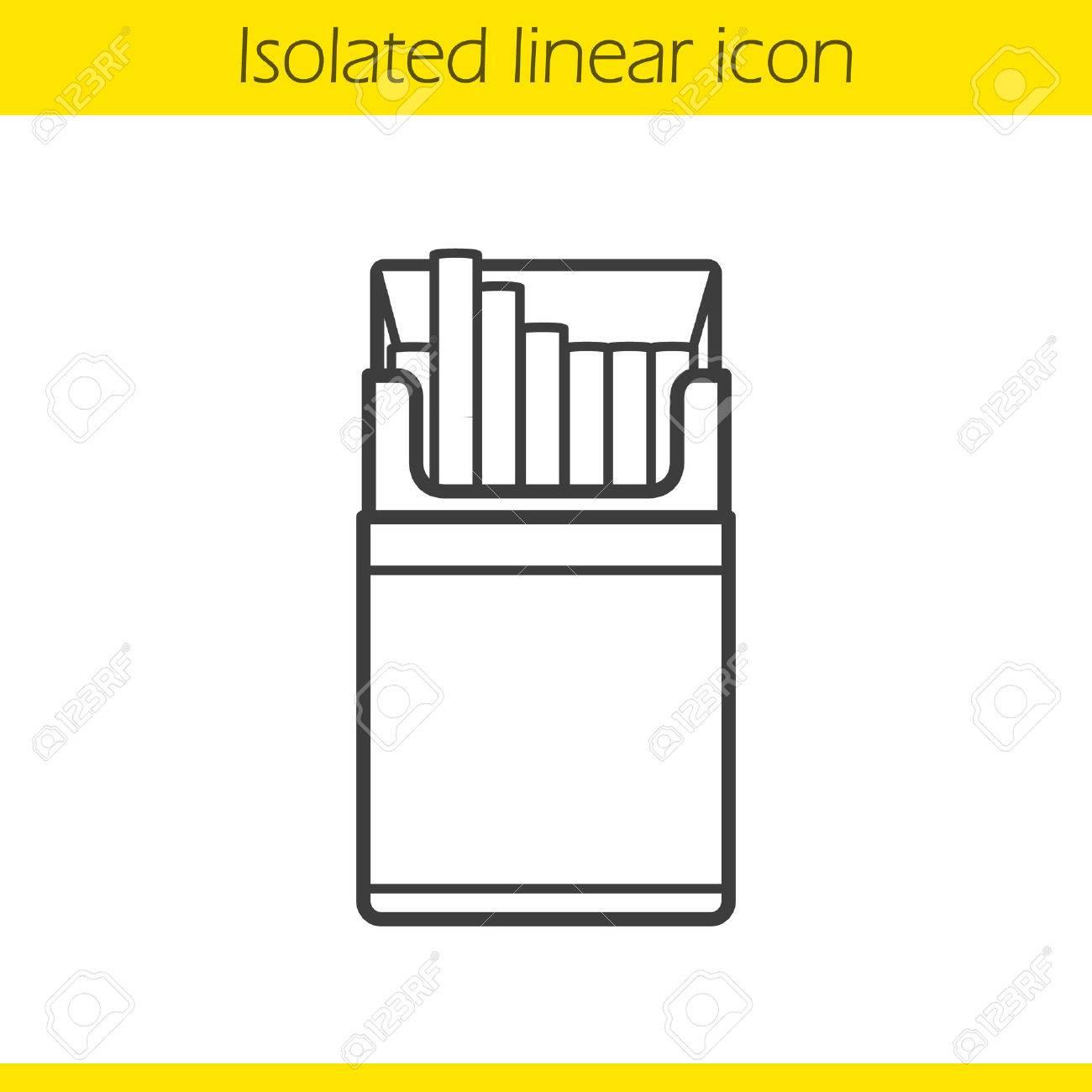 1300x1300 Open Cigarette Pack Linear Icon. Thin Line Illustration. Contour