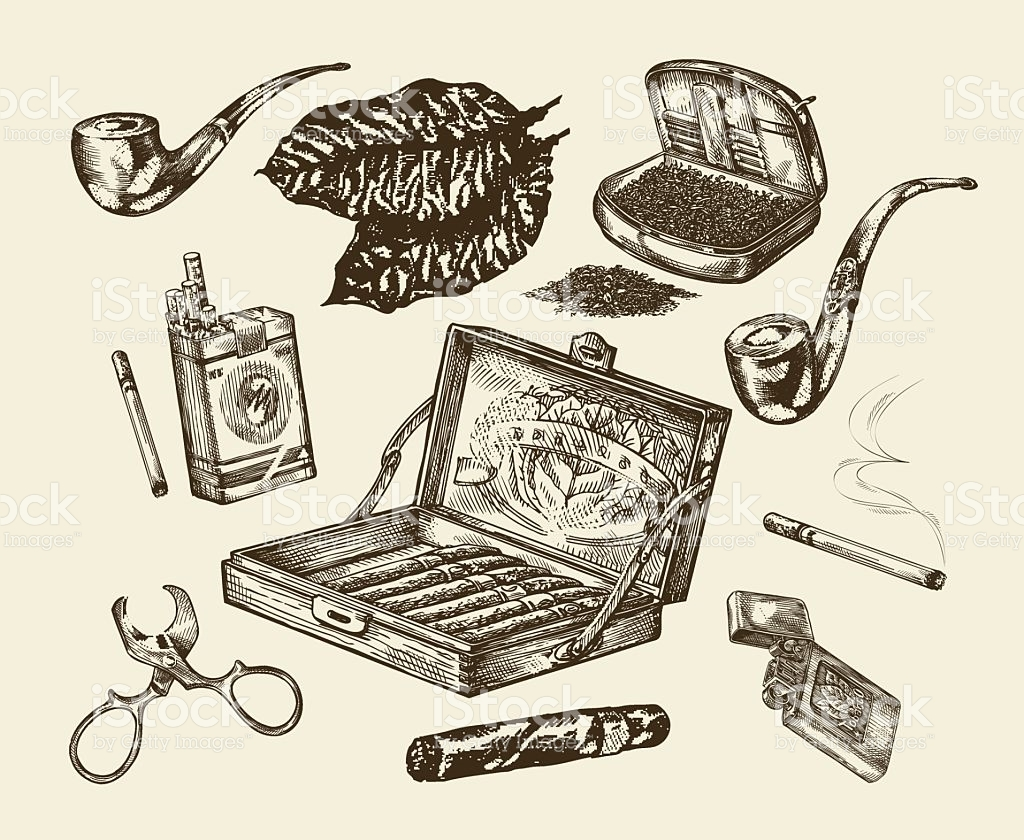 1024x840 Tobacco. Vector Collection Smoking. Hand Drawn Sketch Pack