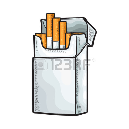 450x450 Unlabeled Standing Open Pack Of Cigarettes, Sketch Vector