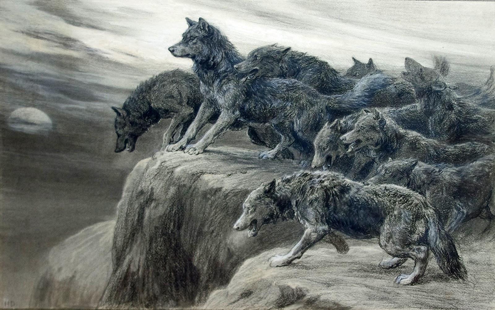 1600x1004 Herbert Thomas Dicksee (British, 1862 1942) A Pack Of Wolves
