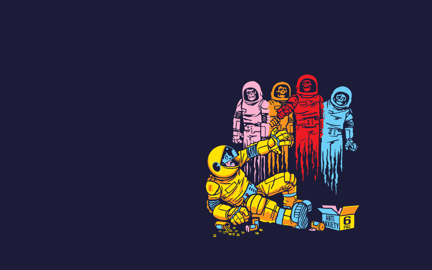 1440x900 Alternative Art Comics Drawings Funny Ghosts Outer Space Pac Man